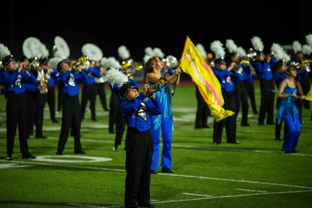 Student Marching Band performers at Band Night 2021
