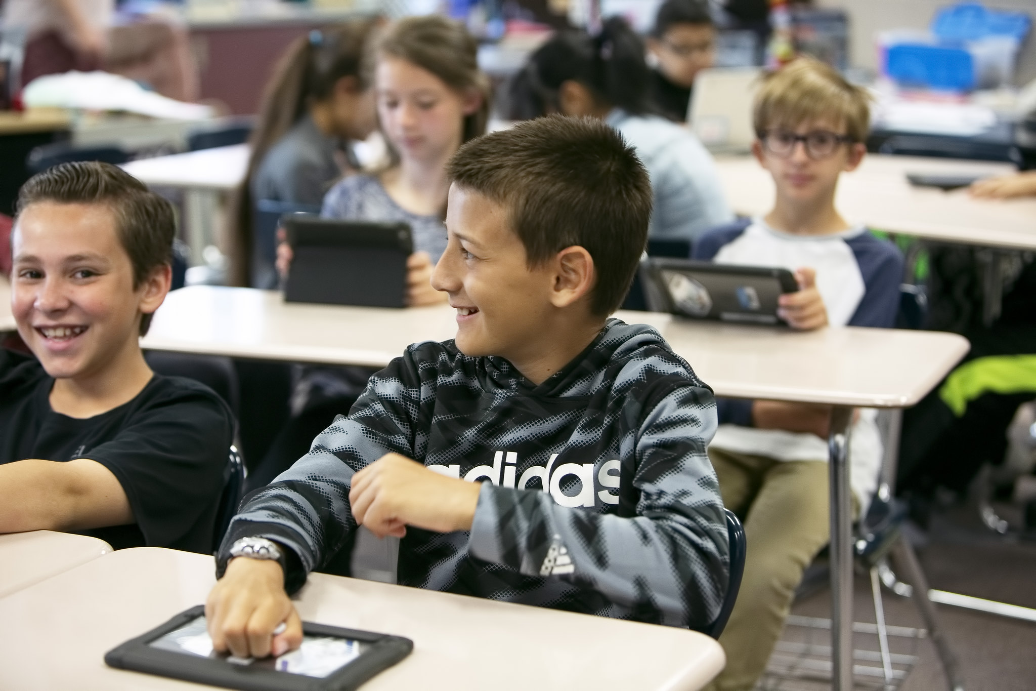 smiling students in class