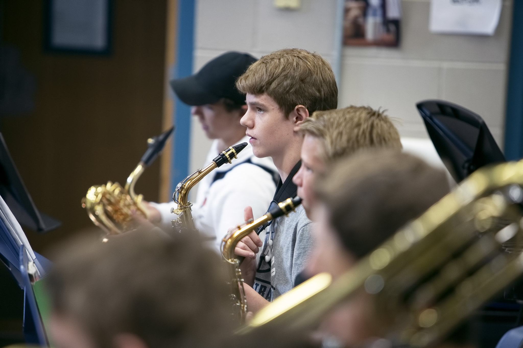 students in band class